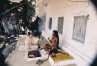 Interviewing Yogi Ramagyadas while staying with him in his Elephant Cave in Mount Abu, India, 1986.