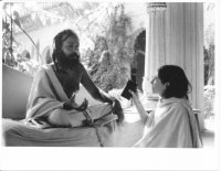 Interviewing Baba Sri Padaji Maharaj, founder of Vraja Academy, Vrindavan, India, 1984.