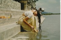 Washing hair in river Ganges, Hardwar, India, 1982.