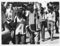 "Walking in ""Save the Whales"" demonstration during the first UN Conference on the Human Environment, Stockholm, Sweden; speaking with UN Conference Chair Maurice Strong, 1972."