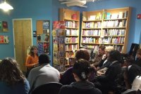 Speaking at book launch of *Once Upon a Yugoslavia* at Main Point Books, Bryn Mawr, Pennsylvania, November 17, 2015.